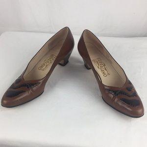 Salvatore Ferragamo narrow brown low heel pumps- 9